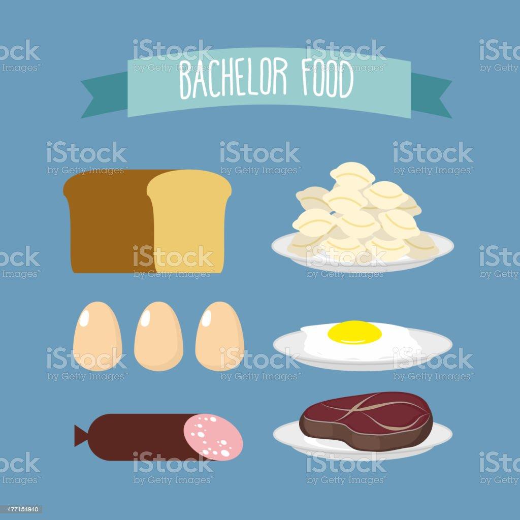 Bachelor food. Set of products for food unmarried men: vector art illustration