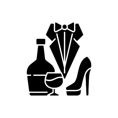 Bachelor party black glyph icon