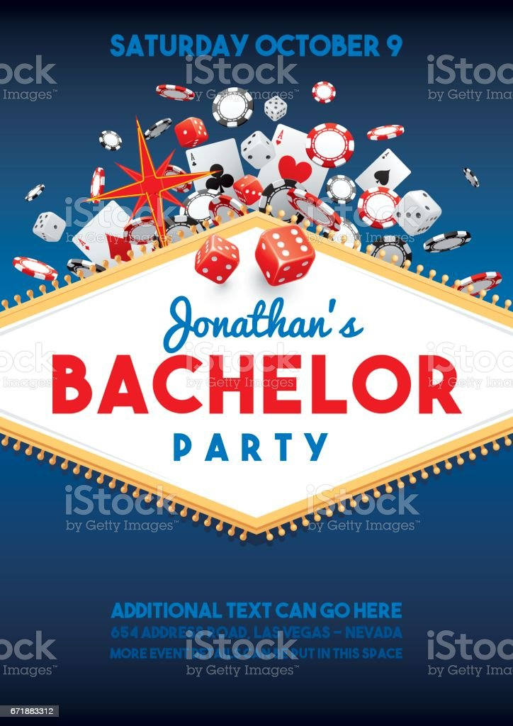 Bachelor party in Vegas invite vector art illustration