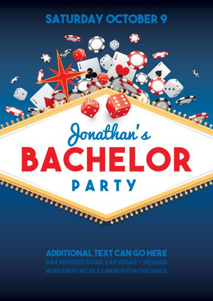 bachelor party in vegas invite - bachelor party stock illustrations, clip art, cartoons, & icons