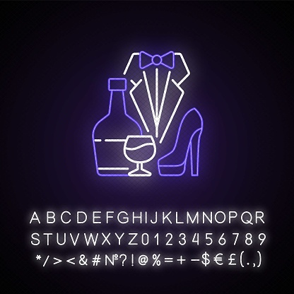 Bachelor party neon light icon