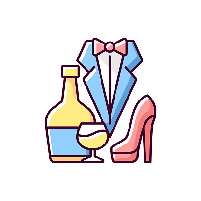 Bachelor party RGB color icon