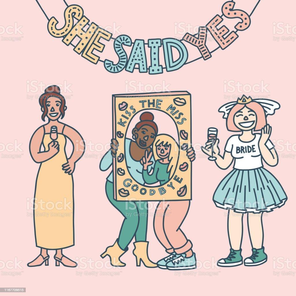 Ilustracion De Concepto De Despedida De Soltera Amigos Celebrando Doodle De Color Pastel Y Mas Vectores Libres De Derechos De Amistad Istock