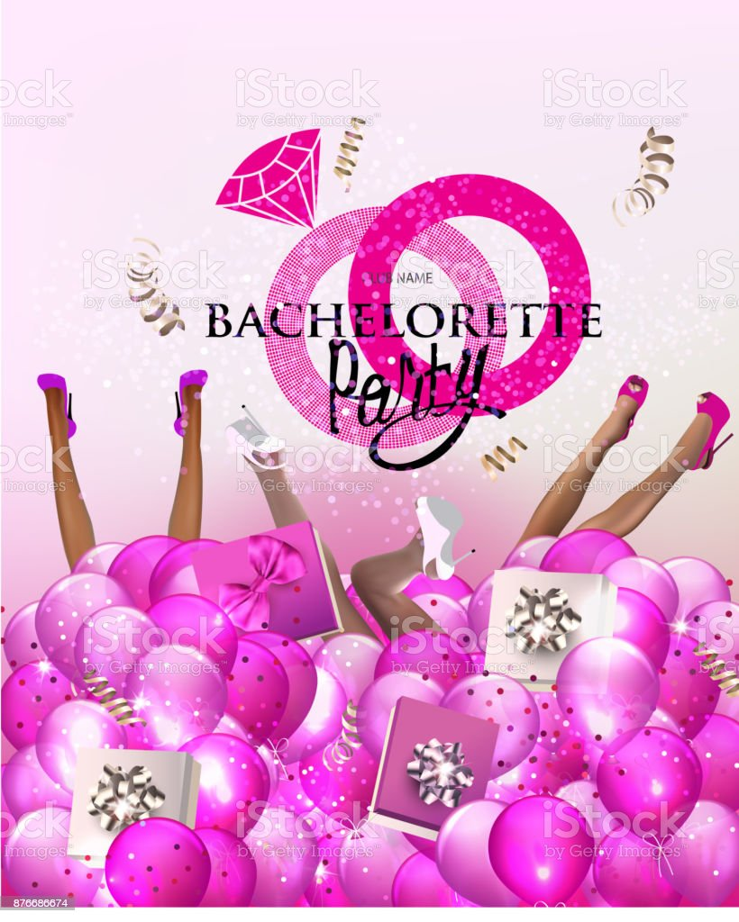 Bachelorette party in glass vector art illustration