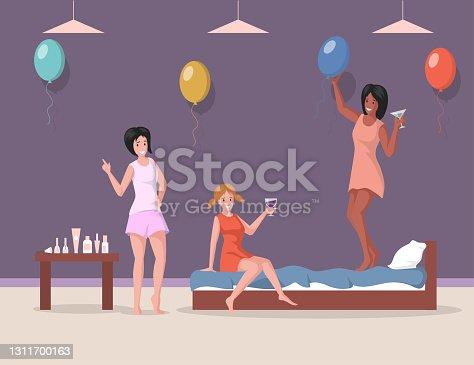 Ilustración plana vectorial despedida de soltera. Mujeres vestidas de noche y pijamas divirtiéndose en ilustración plana vectorial.