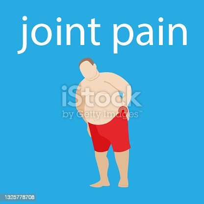 istock back and neck pain. spine disease. spinal pain and hernia. fat obese man. joint ache. fat patient with ill. stock vector illustration. 1325778708