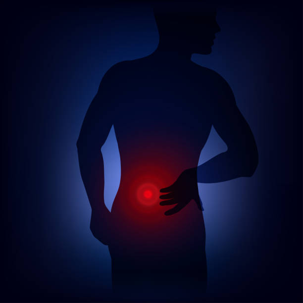 Back and  Pain Human having  backache, symptom of lower back pain, lumbago, pressing hand to body. Vector illustration, neon light style, concept for health, medical problems. chronic illness stock illustrations