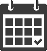 A back and white calendar icon