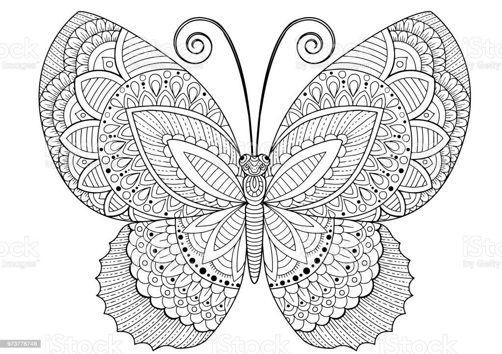 Ilustración de Trasera Y Blanco La Imagen De Una Mariposa Sobre ...