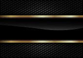 Black stripe with gold border on the dark background.