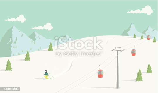 A hand drawn illustration of an off-piste skier in fresh powder snow. Each element on the illustration is on a separate layer and can be easily edited. This is a vector illustration with CMYK color space.