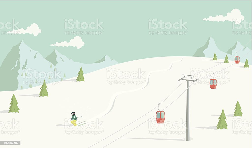 Back Country Skiing vector art illustration