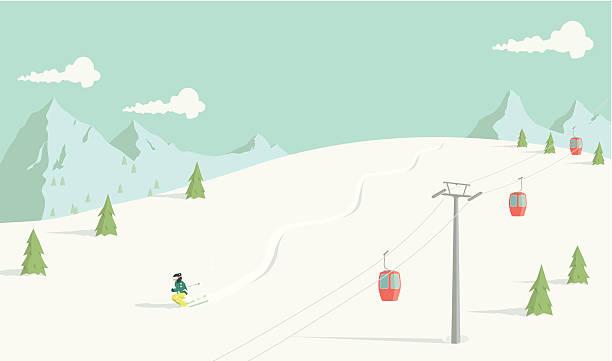 skifahren abseits der piste - skifahren stock-grafiken, -clipart, -cartoons und -symbole