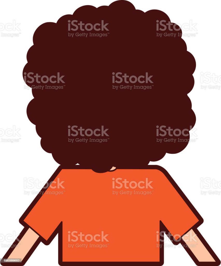 back Curly haired boy character vector art illustration