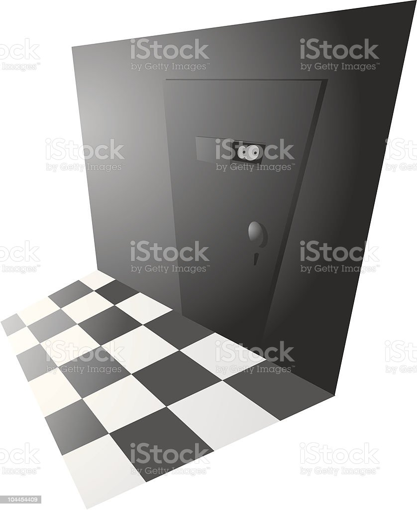 Back door entrance with peephole royalty-free stock vector art