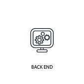 back end concept line icon. Simple element illustration. back end concept outline symbol design. Can be used for web and mobile UI/UX