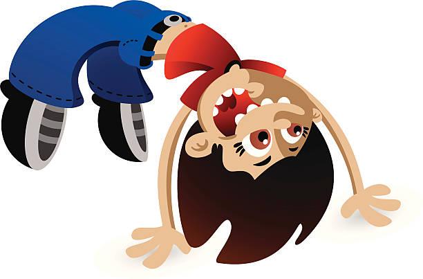 Back Flip Girl vector art illustration