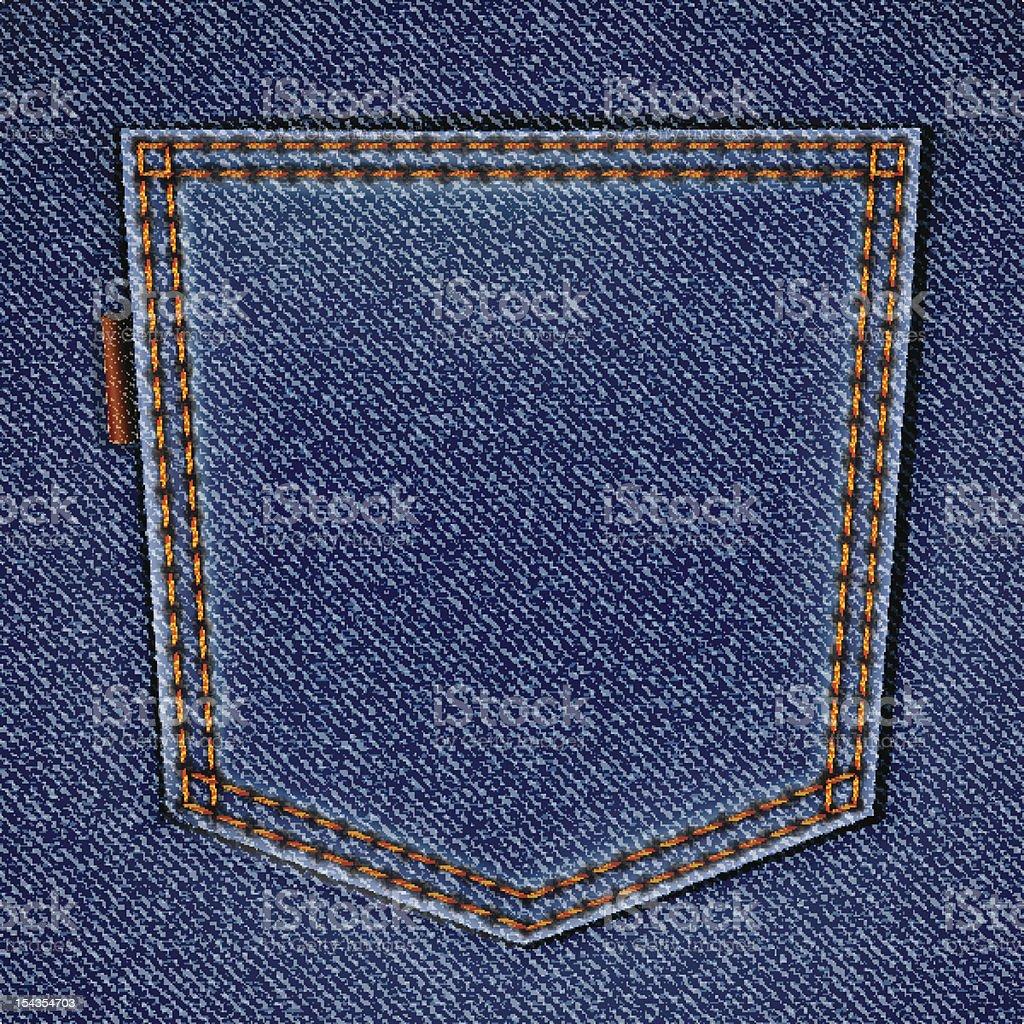 Back jeans pocket on realistic denim texture vector art illustration