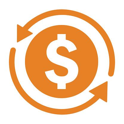 Back, money, refund icon. Orange version