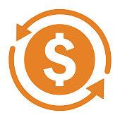 istock Back, money, refund icon. Orange version 1281579246