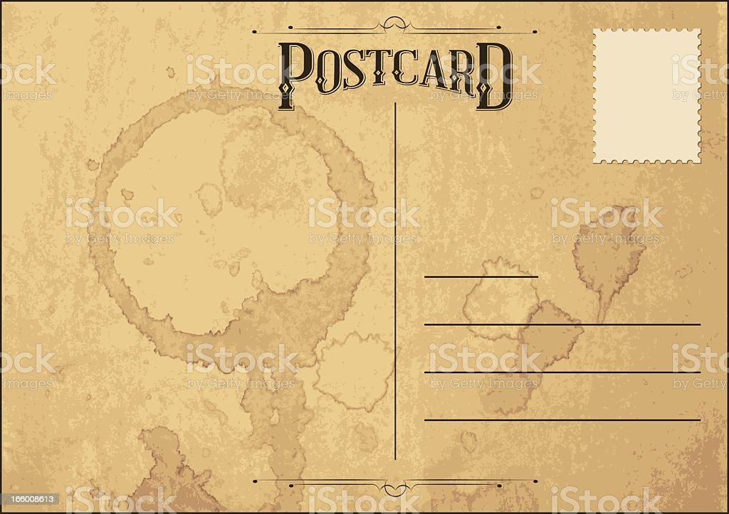 Back of vintage postcard with water stains  vector art illustration