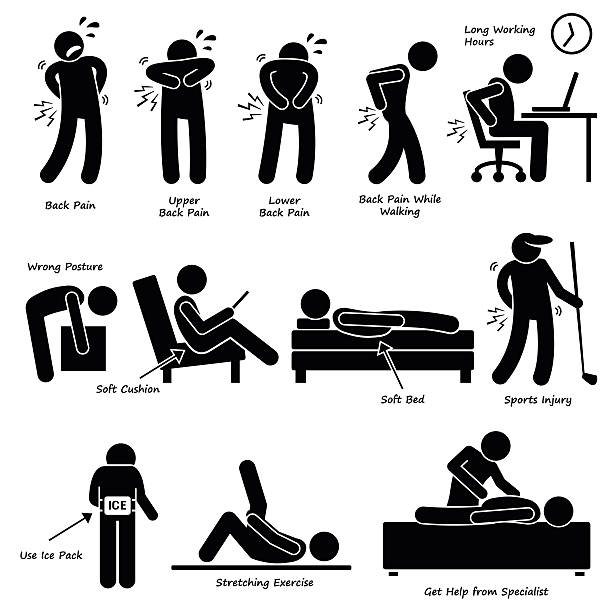 Back Pain Backache Pictogram A set of human pictogram depicting the back pain problem due to various lifestyle posture. There are also method to relief and treat the backache problem. backache stock illustrations