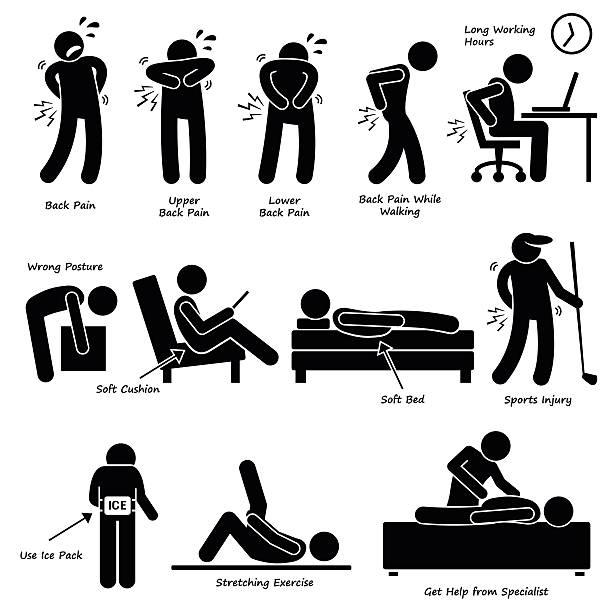 rückenschmerzen lindern rückenschmerzen pictogram - chiropraktiker stock-grafiken, -clipart, -cartoons und -symbole