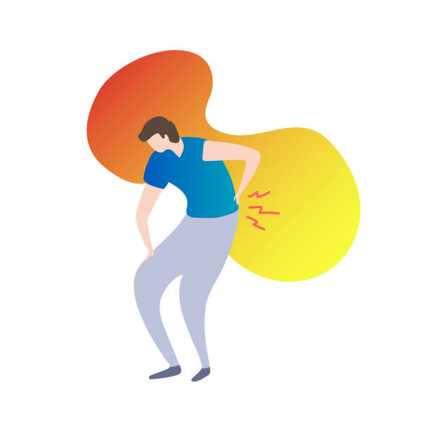 back pain concept modern vector illustration, male person holding back on fluid gradient background.painful spinal injury tension. - physical therapy stock illustrations