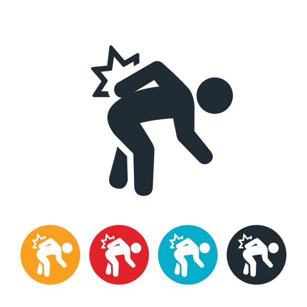 Back Pain Icon An icon of a person bending over and grabbing at their back in pain. The icon represents backpain. bending stock illustrations