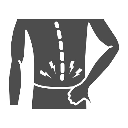Back pain solid icon, Body pain concept, Backache sign on white background, Back injury icon in glyph style for mobile concept and web design. Vector graphics