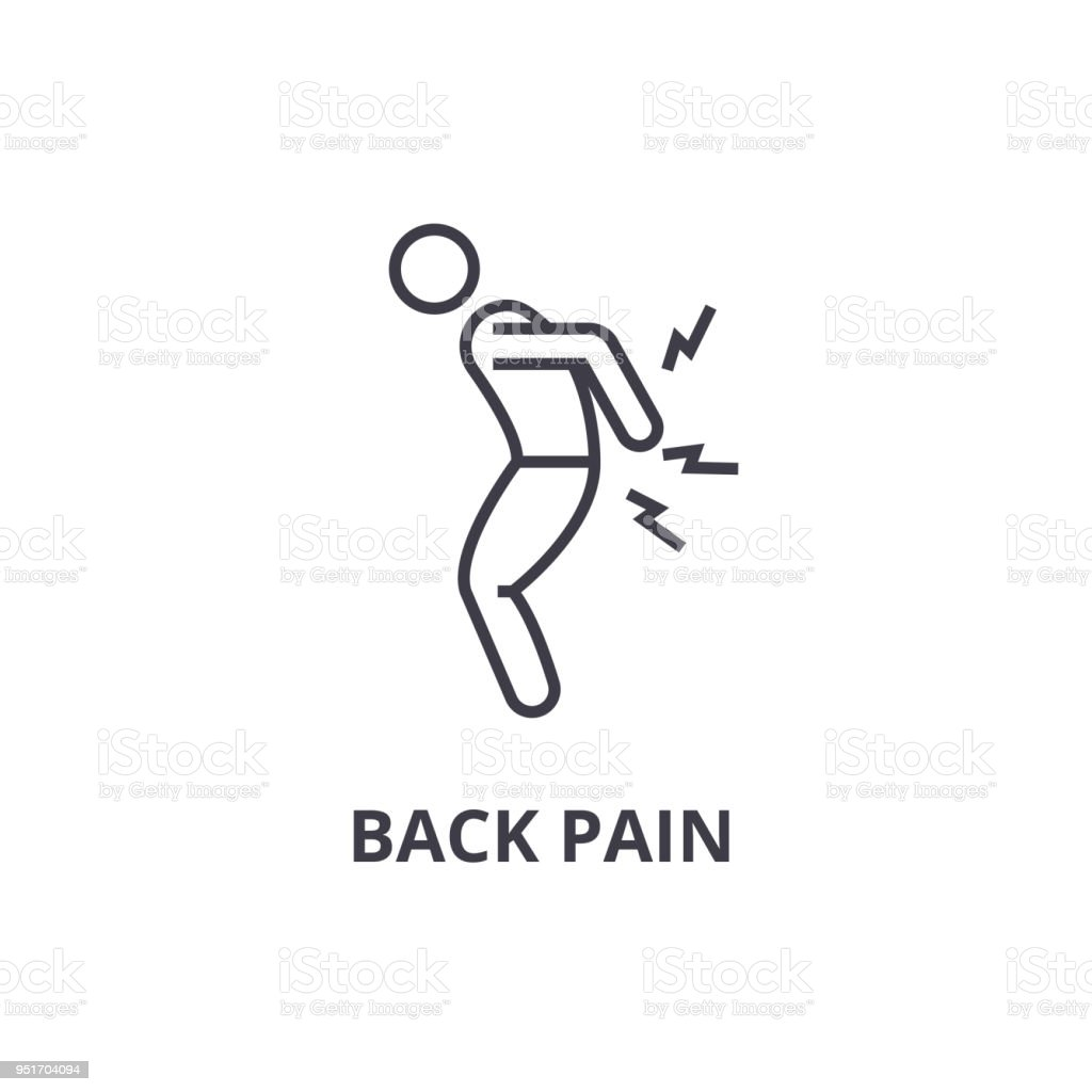 back pain thin line icon, sign, symbol, illustation, linear concept, vector vector art illustration