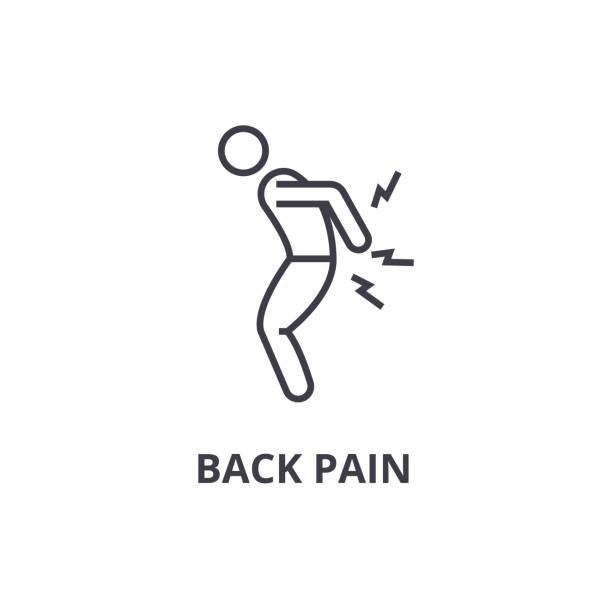 back pain thin line icon, sign, symbol, illustation, linear concept, vector back pain thin line icon, sign, symbol, illustation, linear concept vector chronic illness stock illustrations