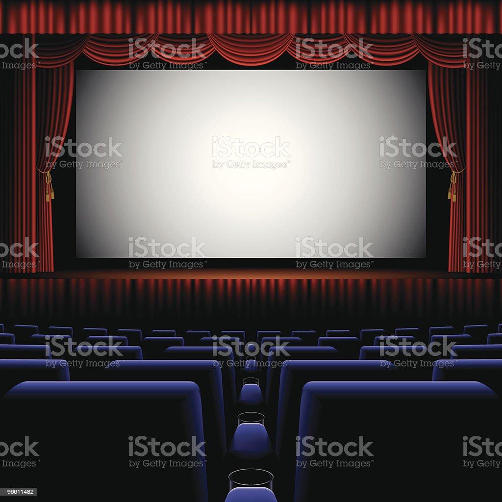 A back row view of a cinema screen - Royaltyfri Biograf vektorgrafik