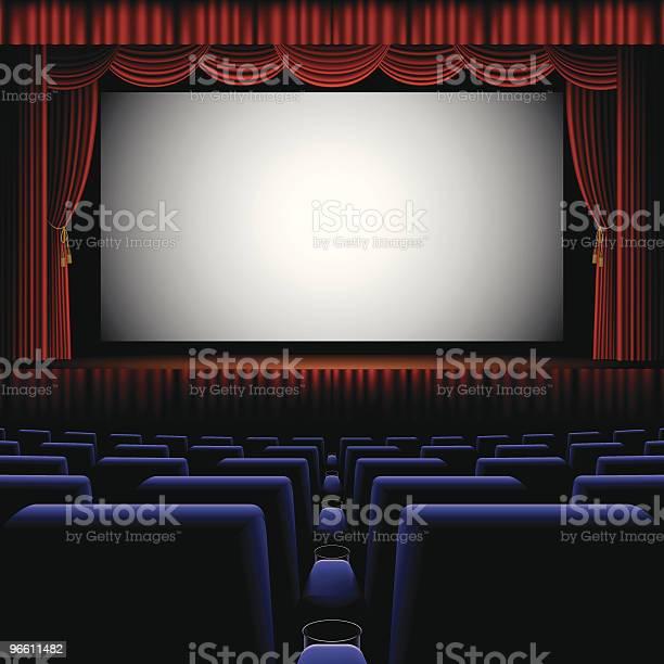 A Back Row View Of A Cinema Screen-vektorgrafik och fler bilder på Biograf