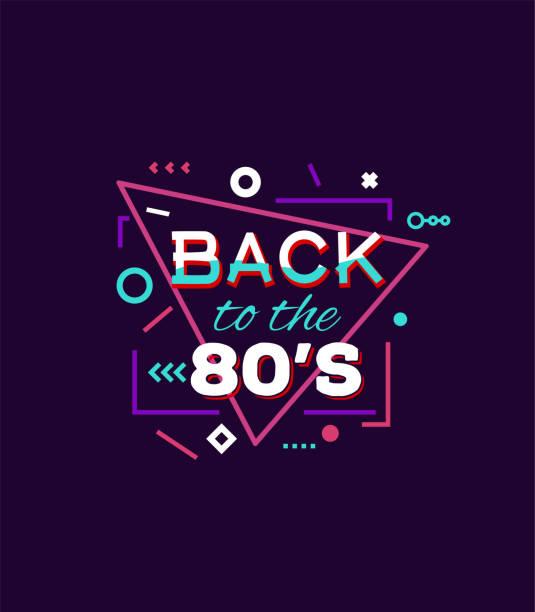 ilustraciones, imágenes clip art, dibujos animados e iconos de stock de volver a los años 80 la impresión - moda playera