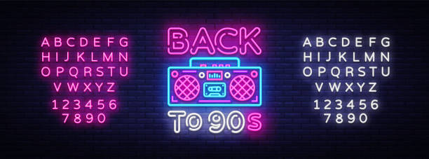 back to 90s neon poster, card or invitation, design template. retro tape recorder neon sign, light banner. back to the 90s. vector illustration in trendy 80s-90s neon style. editing text neon sign - 1990s style stock illustrations