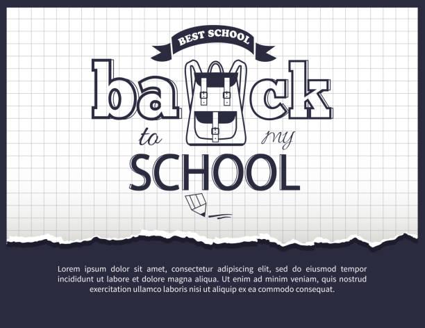 ilustraciones, imágenes clip art, dibujos animados e iconos de stock de volver a mi escuela en blanco y negro pegatina aislada - regreso a clases