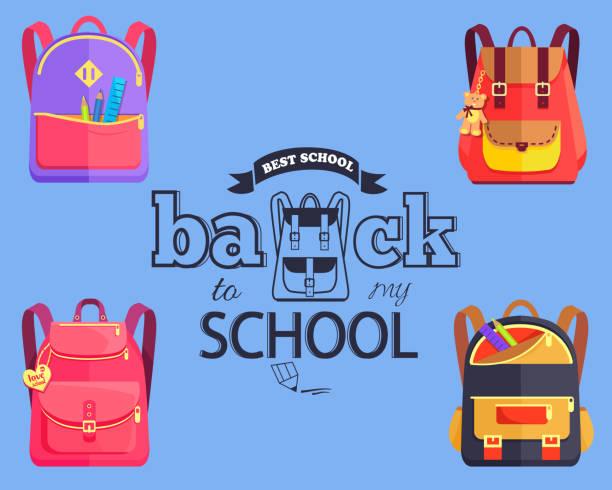 ilustraciones, imágenes clip art, dibujos animados e iconos de stock de volver a mi escuela cartoon style pegatina con bolsas - regreso a clases