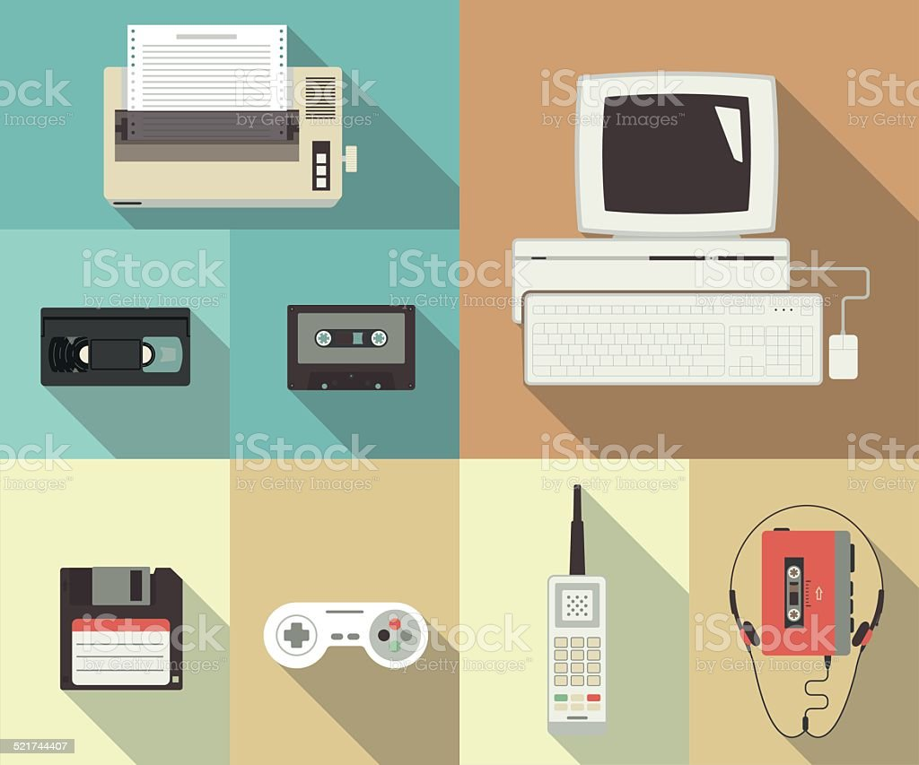 Back to nineties vector art illustration