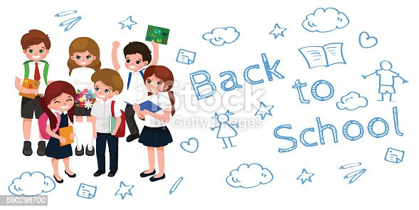 Back To School And Children Education Concept Vector Background-vektorgrafik och fler bilder på Arbetsverktyg 590298700