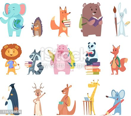 Back to school animals. Young funny zoo characters school items elephant rabbit bear fox squirrel backpack books vector characters. Illustration of rabbit and fox, bear and panda, deer and kangaroo