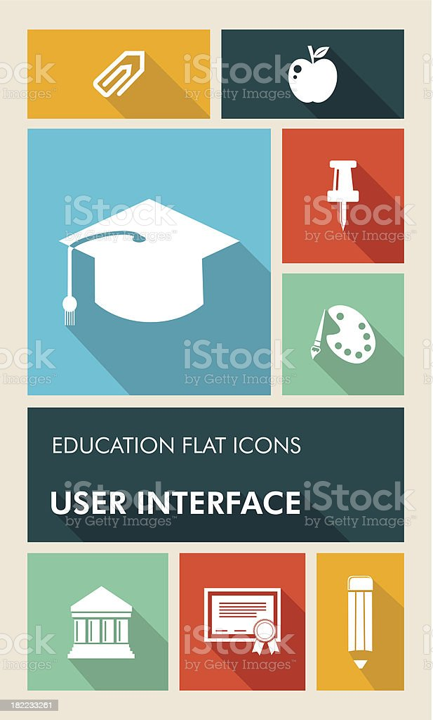 Back to school applications graphic user interface flat icons set. vector art illustration