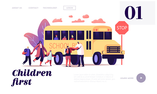 Back to School at Coronavirus Pandemic Landing Page Template. Parents Characters See Off Children Pupils to Schoolbus