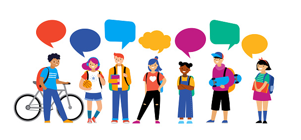 Back to school background, diversity concept for children - schoolboys and schoolgirls of different ethnicities standing together