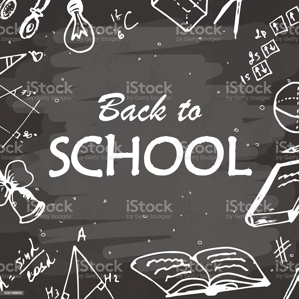 Back to school background. Freehand drawing icon elements on chalkboard. vector art illustration