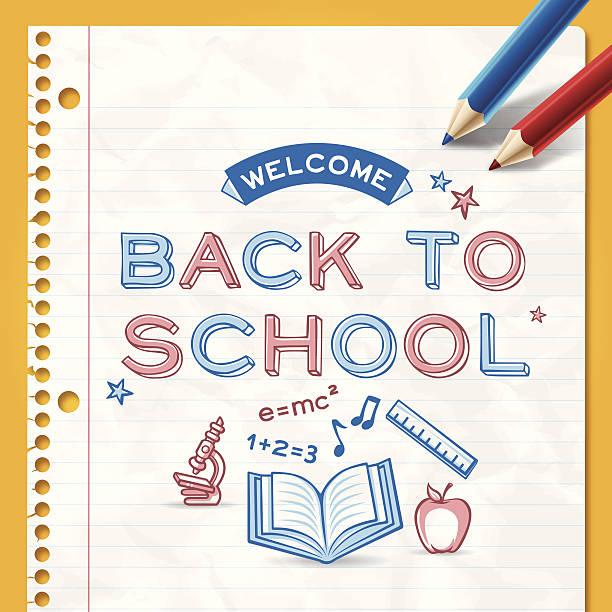 ilustraciones, imágenes clip art, dibujos animados e iconos de stock de volver a la escuela de fondo - fondos arrugados
