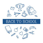 istock Back to school background with doodle line art 1124974779