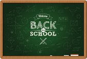 Back to school background on chalkboard with education doodles. All design elements are layered and grouped. Cleanly labeled. Aics3 and Hi-res jpg files are included.