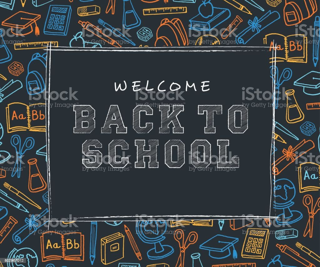 Back to School Background with line art icons - Illustration vector art illustration