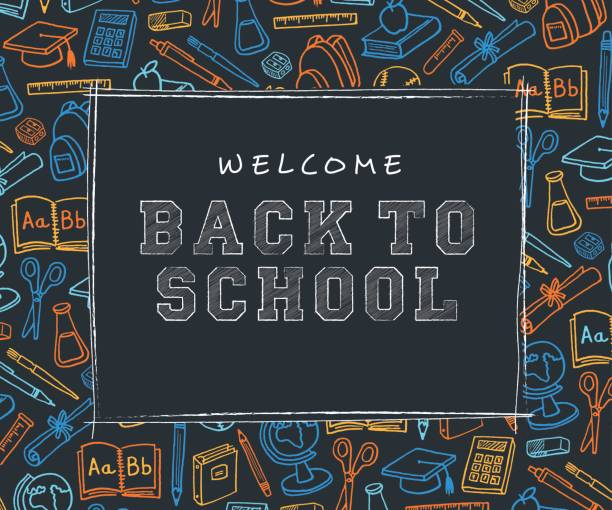 Back to School Background with line art icons - Illustration Back to School Background with line art icons - Illustration school supplies border stock illustrations